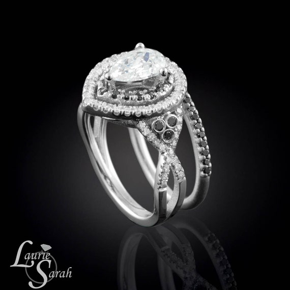 Black Diamond and White Diamond Pear-shaped Double Halo with Twisted Shank and Wedding Band Set - LS829
