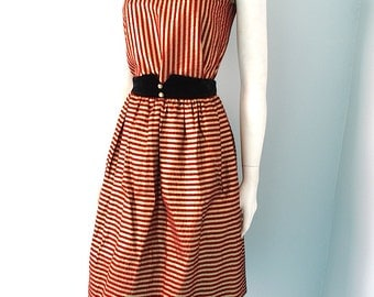 Vintage Red and Gold Metallic Striped 3 piece Outfit Velvet Jacket xs