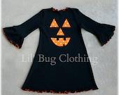 Custom Boutique Clothing Black Comfy Knit Halloween Pumpkin and Dots Dress