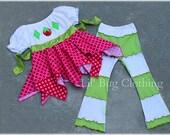 Custom Boutique Girl Strawberry Shortcake Costume Birthday Outfit Handkerchief Top and Lettuce Edge Leggings