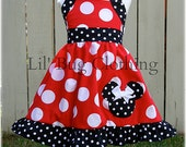 Custom Boutique Clothing Red White Dot Minnie Mouse Halter Dress Disney