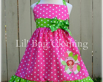 Strawberry Shortcake Dress, Strawberry Shortcake Outfit, Lime Pink Polka Dot Dress, Strawberry Shortcake Birthday Party Dress