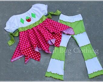 Strawberry Shortcake Costume, Strawberry Shortcake Birthday Girl Outfit, Shortcaje  Handkerchief Top and Lettuce Edge Leggings