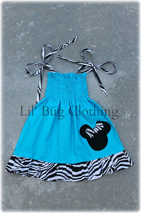 Custom Boutique Aqua Smocked Minnie Zebra Dress size 12 18 24 2t 3t 4t 5t 6 7 8 9 10 girl