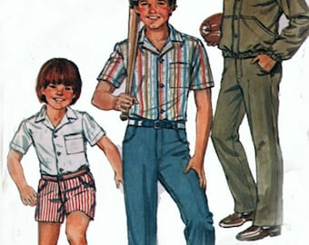 Vintage Boys Pants Shorts Shirt Jacket Sewing pattern Simplicity 5957 Childrens 70s Sewing Pattern Size 12 Chest 30 UNCUT