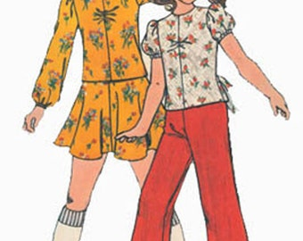 Vintage 1970s Girls Boho Top, Pants and Flip Skirt Sewing Pattern Butterick 4038 70s Sewing Pattern  Size 6 UNCUT