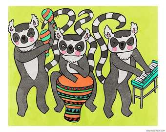 Lemur Band 8 x 10 Illustration Print