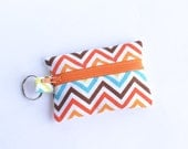 Zippered Pouch, Small Card Case, Ear Bud Case Socks Bermuda Chevron