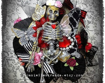Sale Day of the Dead Skull Halloween Gothic Steampunk Floral Collage Corsage Kawaii Cuff Bracelet