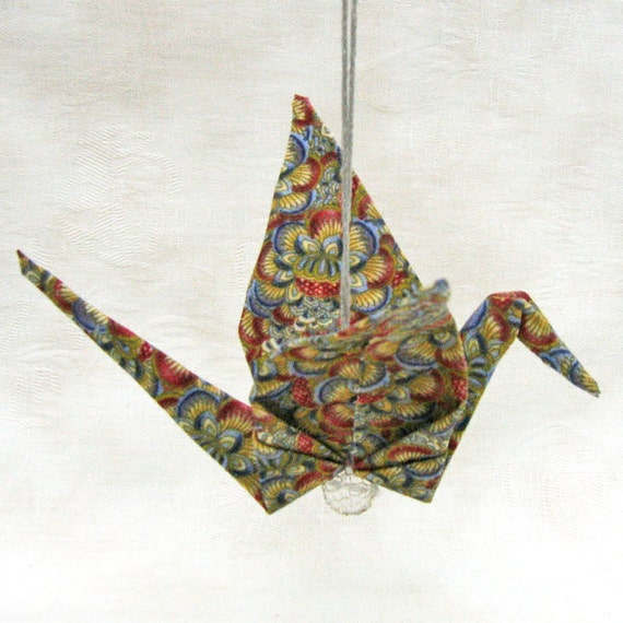 Fabric Peace Crane Origami Holiday Ornament Autumn Multicolor Wrapped in a Take-Out Box