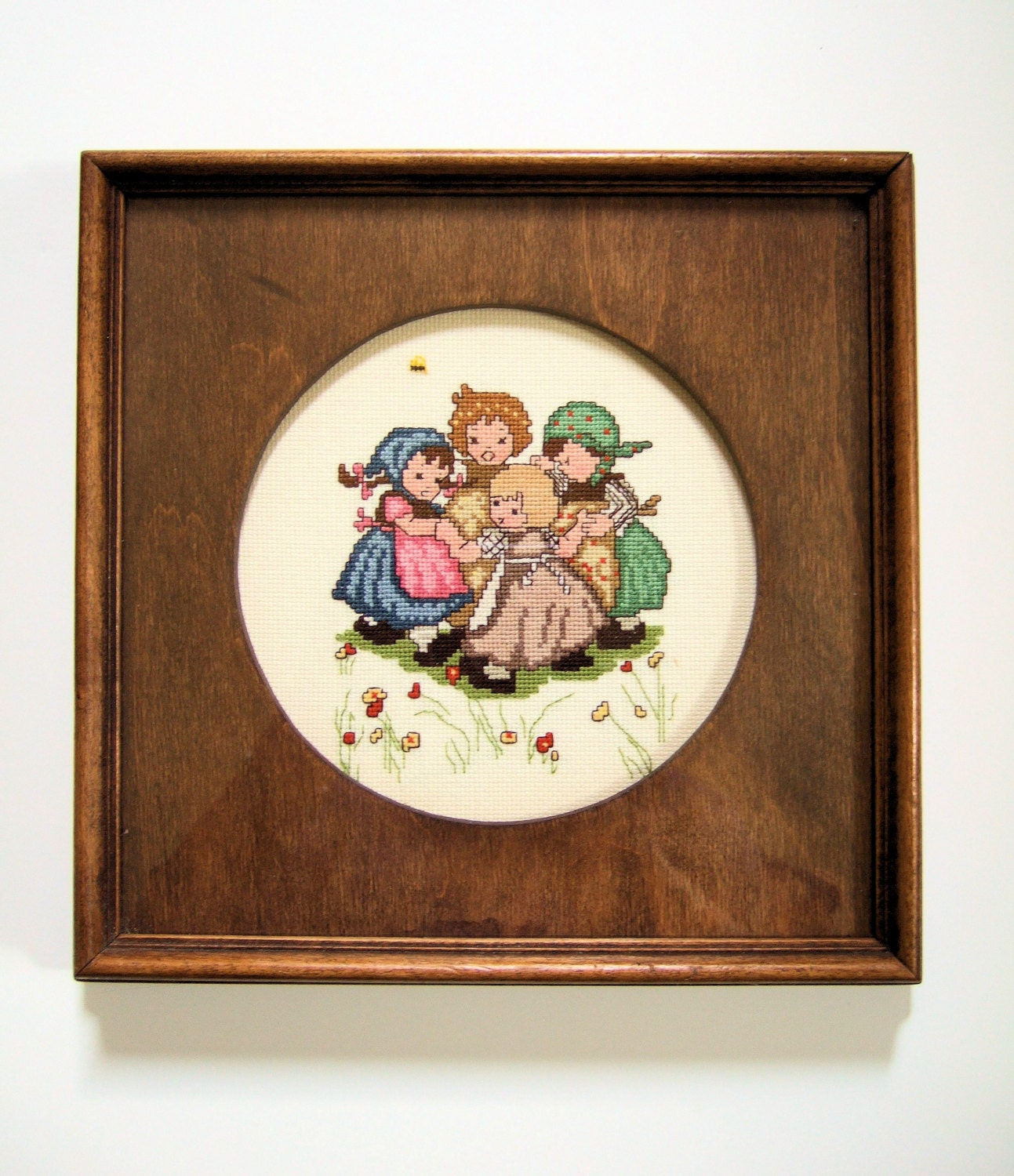 Vintage framed cross stitch wall hanging little girls dancing for Home decor gifts