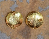 Mykonos Greek Gold Cornflake 2-Hole Connector Casting Beads - 4