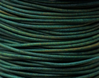 Round Leather Cord 2mm - Natural Turquoise 2 yards