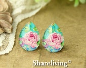 4pcs 18x25mm Handmade Photo Teardrop Glass Cabs Cabochons  (Flower) -- BCH952G
