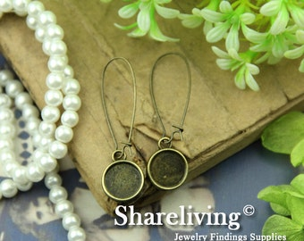 10pcs Silver / Bronze Tray Earring With 12mm Setting