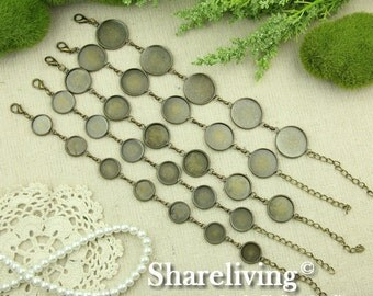 1pcs Antique Bronze Bracelet With 12mm / 14mm / 16mm / 18mm / 20mm  Round Cameo Setting