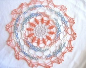 Copper Grey Blue White Green Variegated Crocheted Round Doily 13 inch I Have 2