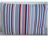 "12x20 Red White and Blue Stripe Lumbar Bolster Pillow Cover 20"" x 12"" Oblong Cushion Case Sham Slip Pillowcase Maritime Stripe New 20""x12"""