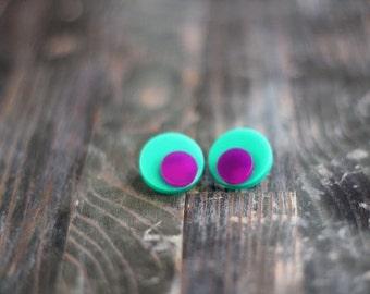 Geometric Stud Earrings,Plexiglass Earrings,Lasercut Acrylic,Gifts Under 25