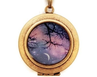 Twinkle Twinkle - Photo Locket Necklace -Moon and Stars Against A Purple Sunset