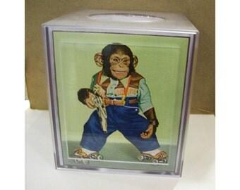 retro monkey tissue box cover vintage 1950's cartoon chimp kitsch