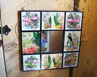 pink flamingo mirror retro vintage 1950's Florida rockabilly kitsch wall mirror