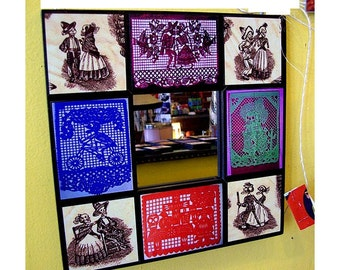 Day of the Dead wall mirror retro vintage Mexico dios de los muertos papel picado folk art
