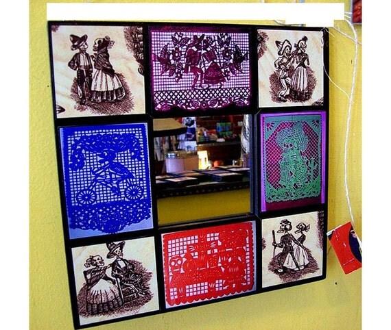 Day of the Dead wall mirror retro vintage Mexico dios de los muertos papel picado folk art