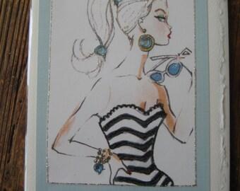 """Barbie vintage""""Bathing Barbie"""" print note card"""
