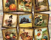 "Fall/Autumn -20 CHaRMiNG Vintage Art 2"" Squares- Printable Collage Sheet Download JPG Digital File- New Lower Price"