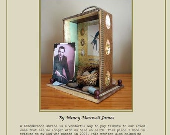 INSTANT DOWNLOAD Remembrance Shrine PDF Tutorial created with Cigar Box and mixed media items