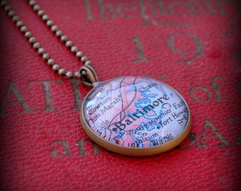 Baltimore Map Necklace