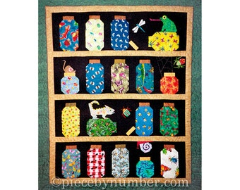 Escaping Bugs Bottle Quilt pattern, paper pieced quilt patterns, bug jars quilt pattern, bug quilt pattern, insect quilt pattern