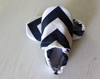 CHEVRON Baby Shoes Booties zigzag boy girl toddler infant newborn slippers navy blue grey gray yellow red green  Duck cloth canvas SWAG