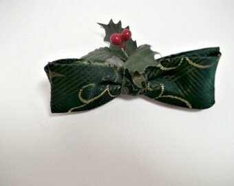 Holiday Bow Tie for Men Boys or Women  Pre-tied  Clip-On Bowtie Dark Green Holly Print Christmas Tie