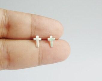 Large 925 Sterling Silver Cross Stud Earrings - Cross Post Earrings - Minimal Jewelry Second Hole Earrings