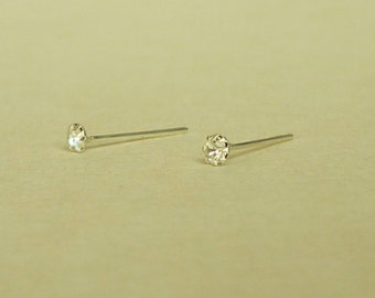 2 mm - Very Tiny Clear Crystal Rhinestone Cartilage Ear Studs- 925 Sterling Silver Earrings - Cartilage Earring