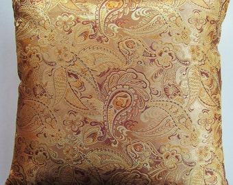 Gold Paisley Throw Pillow Cover - Decorative Brocade Cushion Cover - 20 x 20