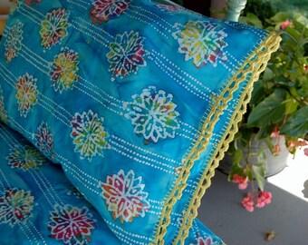 Batik pillowcase with crocheted edge