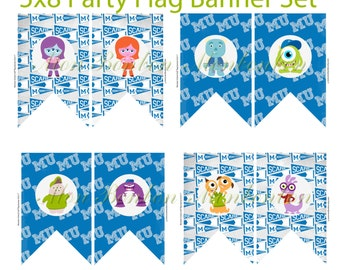 Monsters School Party Banner - Digital Pennant Banner Bunting -DIY  you print  INSTANT DOWNLOAD