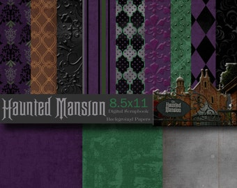 Disney Haunted Mansion Inspired 8.5x11 A4  Digital Scrapbook Paper Backgrounds -INSTANT DOWNLOAD - PU and S4H