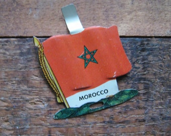 Vintage Morocco Country Flag Metal Clip - Money Clip, Shirt Clip, Sweater Clip - Morocco, Moroccan