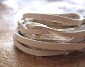 3mm Beige Leather Buckskin SOFT Leather Lace   4ft.    jewelry grade quality    Light Beige