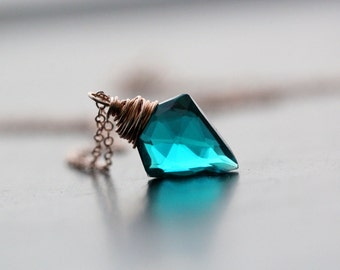 Arrowhead Necklace in Rose Gold, Teal Quartz Gemstone Pendant, Tribal Fashion, Boho Fashion - Arrow  ( The Original Design )