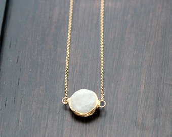 Druzy Bezel Necklace, White Druzy in Gold, Rose Gold or Sterling Silver, Winter Fashion