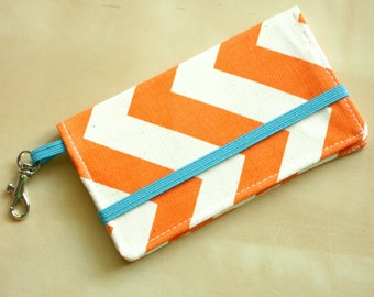 Cell Phone Wallet - Chevron Print - Orange and Turquoise Chevron - Smart Phone - Iphone Wallet - iPhone 5, Evo, S3, S4