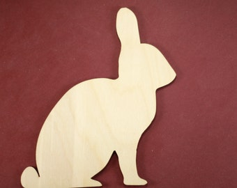 Rabbit Shape Unfinished Wood Laser Cut Shapes Crafts Variety of Sizes