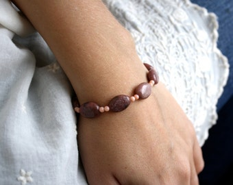 Rhodonite Jewelry . Pink Beaded Gemstone Bracelet Beaded . Rhodonite Bracelet . Natural Stone Bracelet - Victoria Collection