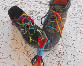 Rainbow Tie Dye Round Braided Cotton Shoelaces for Boots and Sneakers