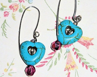 Sterling Silver and Turquoise Earrings, Pink, Crystal Heart Earrings, Sterling Silver Wires, Ladies Jewelry Gift